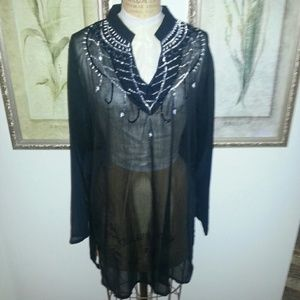 La Moda Black Sheer Tunic Top w/ Embellishments S